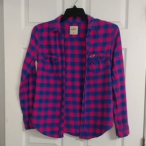 Hollister Pink and Blue Plaid button up (M)